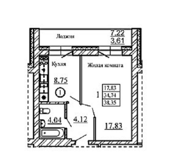 Продажа квартир: 1-комнатная квартира в новостройке, Новосибирская область, Новосибирский р-н, рп. Краснообск, Западная ул., 252, фото 1